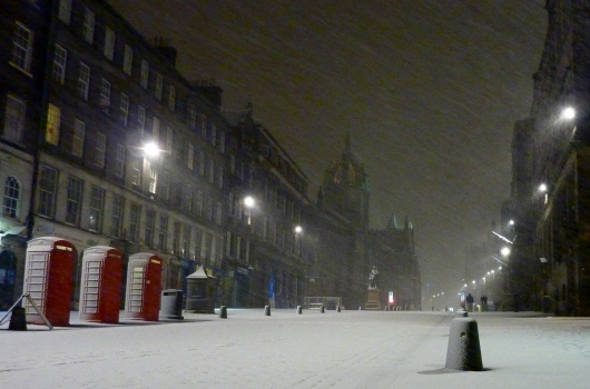 Snow-covered Royal Mile